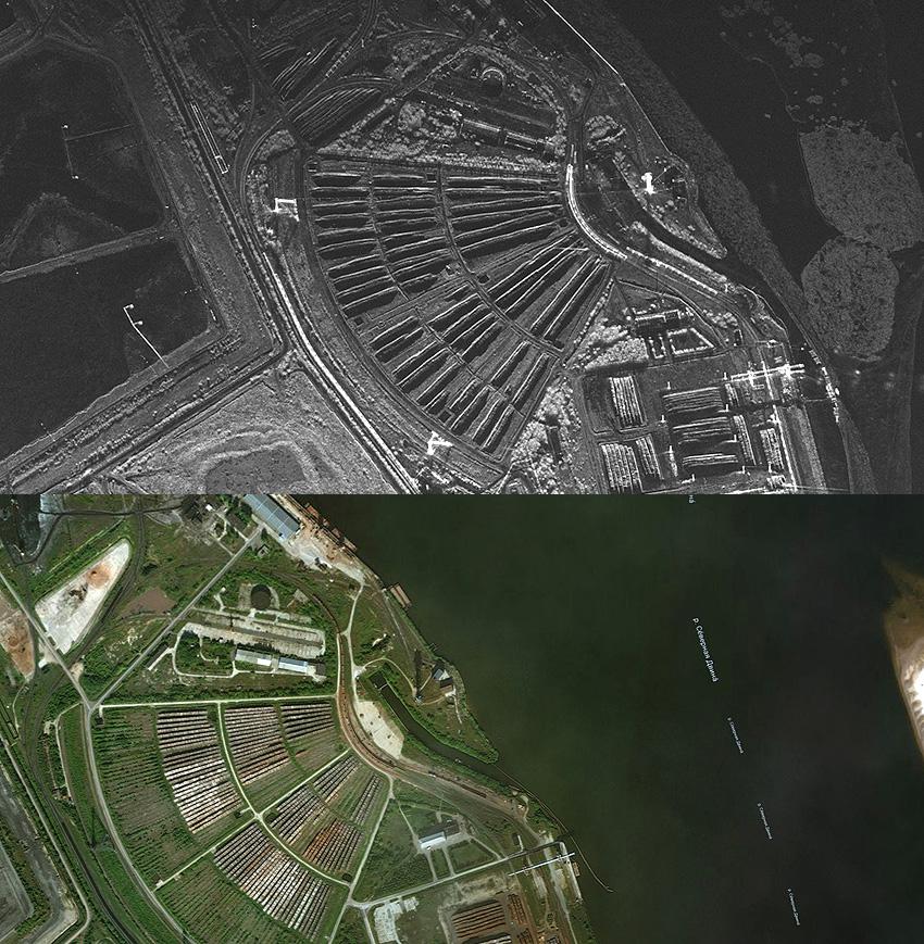На фотографиях показаны два изображения одной и той же поверхности: вверху — радиолокационное, внизу — фотографическое